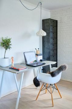 Scandinavian Home Office Space, DIY desk, studio snowpuppe lampshade, Eames daw chair