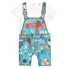 Baby Boys Blue 'Street Pets' Print Shortie, Moschino, Boy
