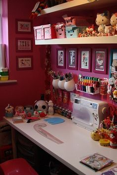 sewing room and hello kitty! Would also be cute scrapbook room! Sewing Spaces, My Sewing Room, Sewing Rooms, Sewing Box, Craft Room Storage, Craft Organization, Craft Rooms, Pegboard Storage, Storage Ideas