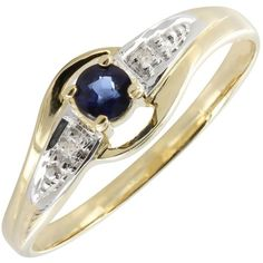 A single round dark blue sapphire nestles at the centre of this 9ct gold ring. It is set within an unusual loop design with diamond detailing set into white gold sections on both shoulders. This ring offers excellent value and is one of our most popular styles.