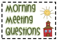 Love 3rd Grade Thoughts' Morning Meeting ideas. Time to tweak my morning meeting with these awesome questions! 3rd Grade Classroom, New Classroom, Classroom Setting, Classroom Ideas, Kindergarten Classroom, Class Meetings, Morning Meetings, Morning Work, Morning Msg
