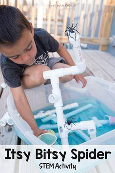 Itsy Bitsy Spider Sensory and STEM Activity - Munchkins and Moms Nursery Rhymes Preschool, Nursery Rhyme Theme, Preschool Letters, Preschool Themes, Preschool Plans, Rhyming Activities, Math Activities For Kids, Water Play Activities, Sensory Play