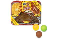 TV Dinner Gumballs - A 3 course TV dinner feast in gumball form! The TV Dinner Gumballs are perfect for muchin' in front of the TV (or the computer, watching YouTube). Each tin comes with 3 flavors: buttered corn, roast beef, and apple cobbler-flavored gums.