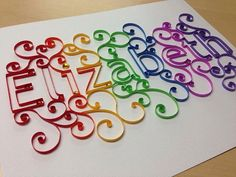 Paper quilling: Quilling Custom Name Baby Name Framed art image 6 Quilling Images, Paper Quilling Patterns, Quilling Paper Craft, Paper Crafts, Quilling Ideas, Quiling Paper Art, Quilling Letters, Magazine Crafts, Quilling Techniques