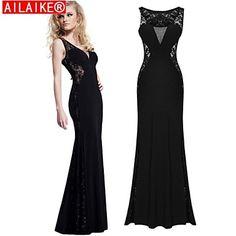 d1edb7efd574 ailaike® μαύρη δαντέλα φόρεμα μακρύ κόμμα σέξι vestidos γυναικών maxi  φορέματα επίδεσμο βραδινά φορέματα –