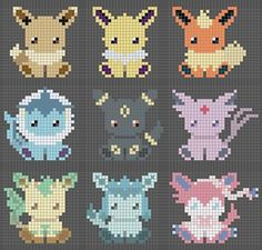 https://www.reddit.com/r/CrossStitch/comments/3hkmwl/wip_cross_stitch_of_the_eevee_evolutions/