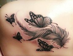 Tattoos And Body Art tattoo kits Feather Tattoo Design, Butterfly Tattoo Designs, Feather Tattoos, Tattoo Designs For Women, Tattoos For Women Small, Small Tattoos, Temporary Tattoos, Flower Tattoos, Butterfly Foot Tattoo