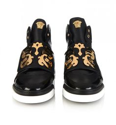 Versace Baroque-shield high-top leather trainers