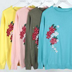 Buzo bordado flores Krencia indumentaria