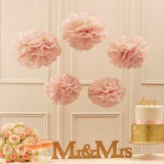 Pom Poms (5 Stück) - Pastell rosa