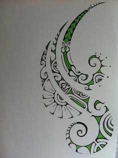 green polynesian tattoo drawing