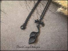 Noir/ Black/ Victorian/ Gothic/ Dark Mori/ Calla Lily Necklace by DarkCageDesigns on Etsy