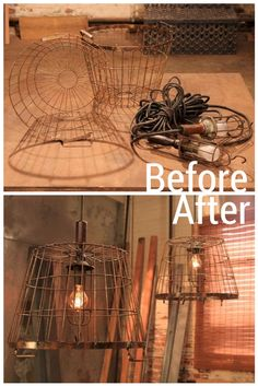 Kitchen Lighting Ideas Wire Buckets Utility Lights= Industrial Light Fixture for laundry room - DIY Network shares before and after images of some of the top transformations and upcycling projects from HGTV's popular show, Flea Market Flip. Industrial Light Fixtures, Pendant Light Fixtures, Industrial Lighting, Pendant Lights, Industrial Loft, Cheap Light Fixtures, Industrial Bookshelf, Vintage Light Fixtures, White Industrial