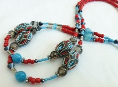 """Aztec Maiden"" Aqua Blue Red Agate Crystal Beaded Lanyard ID Badge Holder | eBay"