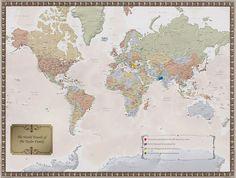 Ready-to-Frame World Traveler Map