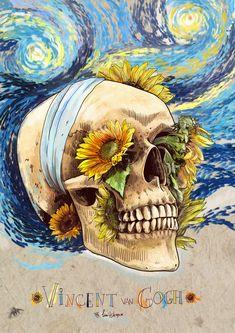Skulls of famous Artists by Mimi ilnitskaya- Vincent Van Gogh - Tattoo Design Van Gogh Tattoo, Vincent Van Gogh, Paintings Famous, Ouvrages D'art, Van Gogh Art, Skull Painting, Arte Sketchbook, Art And Illustration, Vector Illustrations