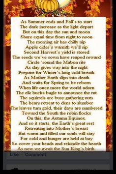 Autumn Equinox:  Mabon.