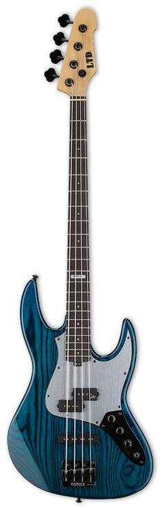 ESP LTD PT-4 BLKAQ Pancho Tomaselli Signature 2015 Black Aqua Electric Bass Guitar