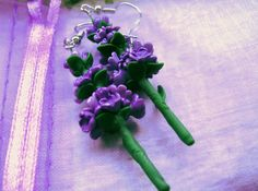 Commissioned Lavender earrings. Handmade from polymer clay by me at The Fairy Factoree: https://www.facebook.com/fairyfact?pnref=lhc