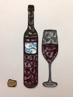 Quilling Wine Quilled Art Wine Bottle Framed 8x10 by jgaCreations