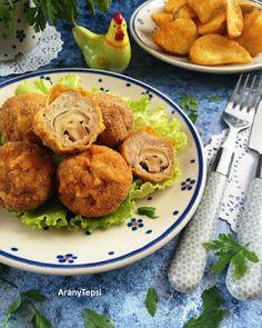 AranyTepsi: Gombával töltött pulykagolyó rántva Meat Recipes, Potato Salad, Potatoes, Chicken, Ethnic Recipes, Food, Potato, Essen, Meals