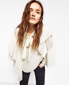 TIE-UP TOP WITH RUFFLES-TOPS-TRF | ZARA United States
