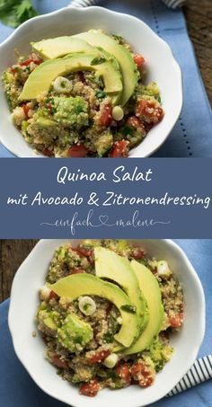Einfach, gesund & lecker: Quinoa Avocado Salat Very tasty and healthy . Quinoa is awesome. Avocado Salat, Guacamole, Keto, Sour Cream, Taco Mac And Cheese, Law Carb, Bowls, Mexican Shredded Chicken, Gourmet