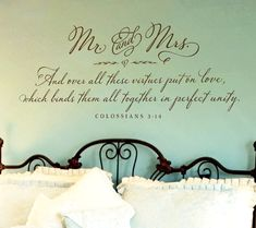 Merveilleux Bedroom Wall Decor   Mr. And Mrs. Wall Decal   Colossians 3:14