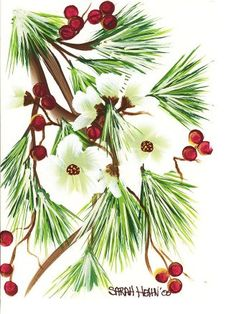 One of my painted Christmas cards