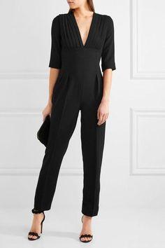 Emilia Wickstead - Bela Pleated Wool-crepe Jumpsuit - Black - UK