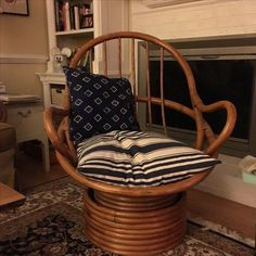 Image Of Vintage Bamboo Cocoon Swivel Chair