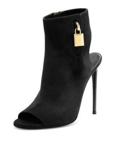 """TOM FORD suede bootie. 4.3"""" covered heel. Approx. 8.5""""H shaft from toe to ankle. Open toe. Padlock and key ankle detail. Side zip eases dress. Lightly padded footbed. Smooth outsole. Made in Italy."""
