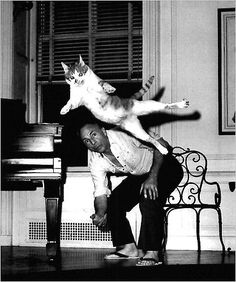 George Balanchine and his cat, Mourka. Foto by Martha Swope Dancing Animals, Dancing Cat, Ballet Poses, Ballet Dancers, Cute Little Kittens, Cats And Kittens, George Balanchine, Alley Cat, Pets