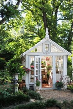 This She Shed elevates greenhouse gardening and potting to an almost-religious experience. (Potting Shed Plans) Build A Greenhouse, Greenhouse Gardening, Greenhouse Ideas, Simple Greenhouse, Portable Greenhouse, Shabby Chic Greenhouse, Old Window Greenhouse, Homemade Greenhouse, Outdoor Greenhouse