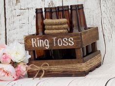 So cute for jack and Jill?Ring Toss Game Rustic Wedding Decor Outdoor Party Game Wedding Games Yard Games Family Party Games Beer Bottle Ring Toss Game Wood Crate by DownInTheBoondocks on Etsy Stag Games, Stag And Doe Games, Bridal Shower Rustic, Rustic Wedding, Family Party Games, Outdoor Party Games, I Do Bbq, Ring Toss, Jack And Jill