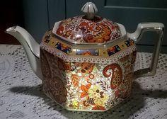 Beautiful vintage hexagonal shaped paisley chintz large teapot
