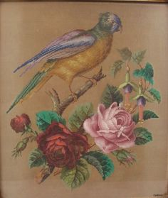 A Beautiful Berlin WoolWork Pattern ~ Parrot Roses & Fuchsias