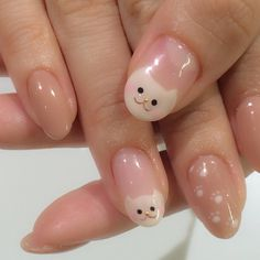Nail image 1221405 clear beige white character deformation French one color Animal Halloween soft gel hand Medium Short Soft Nails, Aycrlic Nails, Simple Nails, Soft Grunge Nails, Halloween Nails, Halloween Couples, Diy Halloween, Halloween Recipe, Women Halloween