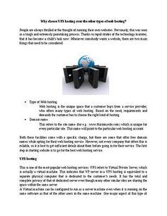 VPS hosting - Advantages over other types of web hosting