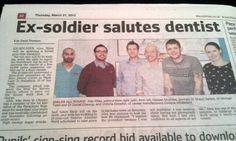 """""""Ex-soldier salutes dentist"""""""