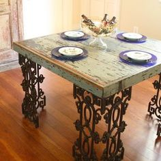 New Orleans Dining Room Table Made From Reclaimed Wood and Wrought Iron by DoormanDesigns on Etsy New Orleans Decor, Wrought Iron Decor, Home Decor Furniture, Furniture Ideas, Iron Furniture, Upcycled Furniture, Custom Furniture, Vintage Furniture, Elegant Dining