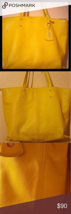 """Cole Haan """"Hannah """" Lemon Tote Love This Rare Pebbled Leather Cole Haan Tote, Lots Of Complements With This Bag! Has Small Wear On Bottom Edges. Measures: Bag Height 12 Handle Drop 10 Bag Width 17 Cole Haan Bags Totes"""