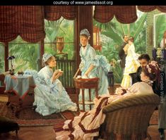 In the Conservatory (Rivals), an oil-on-canvas painting by James Jacques Joseph Tissot Johannes Vermeer, James Joseph, Victorian Tea Party, Victorian Era, Edwardian Style, Victorian House, Victorian Fashion, Kids Book Club, Art Ancien