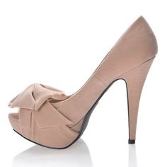 Buy New: $36.99 #Shoes: Qupid Women's Shoe With Peen Toe Bow And Platform High Heel- Color: Nude Beige Size: 6.5