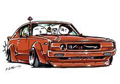 "car illustration""crazy car art""jdm japanese old school ""KENMERI""original characters ""mame mame rock""  /  © ozizo ""Crazy Car Art"" Line stichersLINE STOREhttps://store.line.me/stickershop/product/1254713"