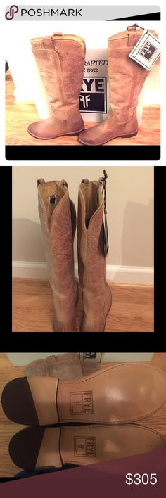 "New Frye Paige Tall Riding Boot Antique Tan New in box Frye Paige Tall Riding Boots in tan burnished antique leather. Beautiful fall boots with Frye's signature quality.  Never worn. Size 7.5 M. Retails for $388.  Leather Imported Leather sole Shaft measures approximately 16"" from arch Heel measures approximately 0.75"" Platform measures approximately 0.5"" Boot opening measures approximately 16"" around Knee-length riding boot with layered shaft featuring twin pull handles and low stacked heel…"