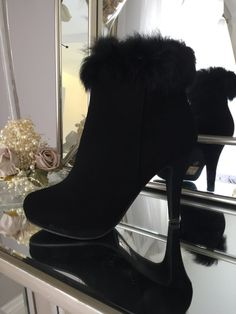 Black Ankle Boot Heel with Fur Trim
