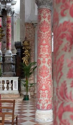Mariano Fortuny covered columns. Sant' Eufemia Church, Venice