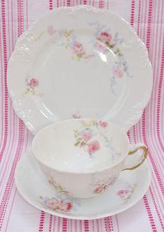 Delinieres Limoges Embossed Pink Roses Tea Trio C1900 8965