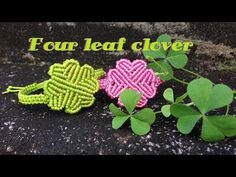 Macrame tutorial - The Simple four leaf clover bracelet - Lucky and cute - YouTube